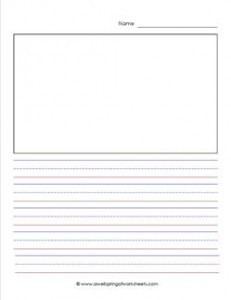 primary lined paper - portrait - 5/8 inch - name - picture