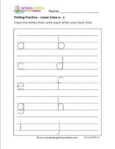 printing practice - lower case a-z multi-page - handwriting practice for kindergarten
