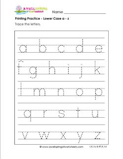 printing practice - lower case a-z page - handwriting practice for kindergarten