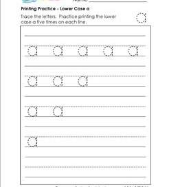 printing practice - lower case a - handwriting worksheets for kindergarten