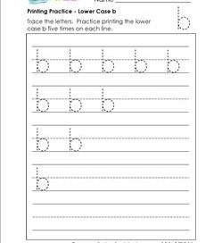 printing practice - lower case b - handwriting worksheets for kindergarten