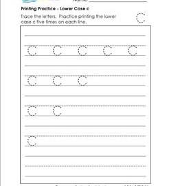 printing practice - lower case c - handwriting worksheets for kindergarten