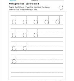 printing practice - lower case d - handwriting worksheets for kindergarten