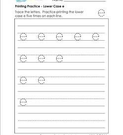 printing practice - lower case e - handwriting worksheets for kindergarten