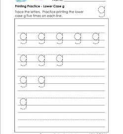printing practice - lower case g - handwriting worksheets for kindergarten