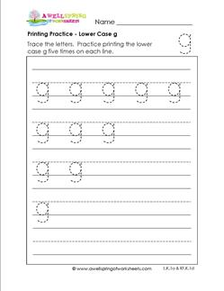 printing practice - lower case g - handwriting worksheets for kindergarten