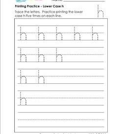 printing practice - lower case h - handwriting worksheets for kindergarten
