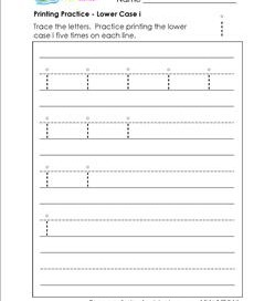 printing practice - lower case i - handwriting worksheets for kindergarten