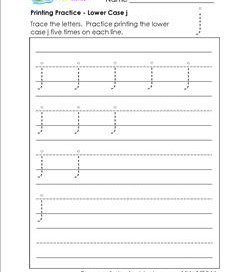 printing practice - lower case j - handwriting worksheets for kindergarten
