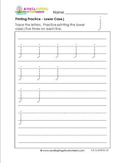 printing practice - lower case j - handwriting worksheets for kindergarten