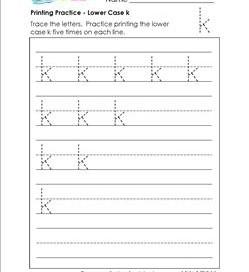 printing practice - lower case k - handwriting practice for kindergarten