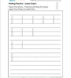 printing practice - lower case l - handwriting practice for kindergarten