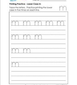 printing practice - lower case m - handwriting practice for kindergarten