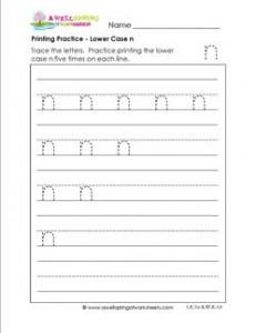 printing practice - lower case n - handwriting practice for kindergarten