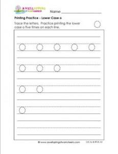 printing practice - lower case o - handwriting practice for kindergarten