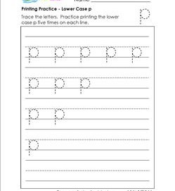 printing practice - lower case p - handwriting practice for kindergarten