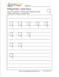 printing practice - lower case q - handwriting practice for kindergarten