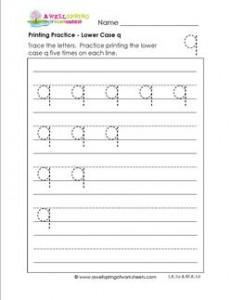 printing practice - lower case q - handwriting practice for kindergarten