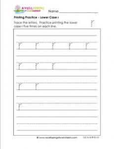 printing practice - lower case r - handwriting practice for kindergarten