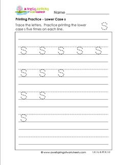 printing practice - lower case s - handwriting practice for kindergarten