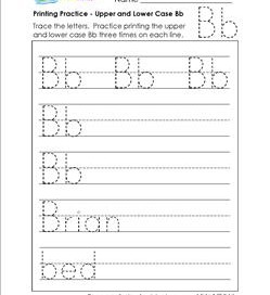 printing practice - upper and lower case Bb - handwriting practice for kindergarten