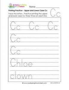 printing practice - upper and lower case Cc - handwriting practice for kindergarten