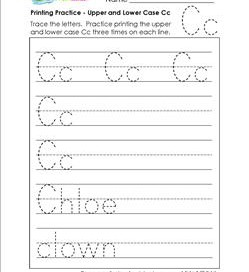 printing practice - upper and lower case Cc - handwriting practice for kindergarten