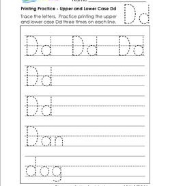 printing practice - upper and lower case Dd - handwriting practice for kindergarten