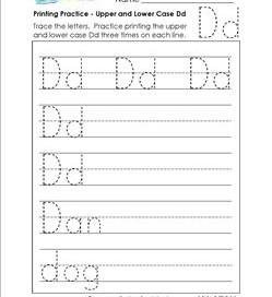 printing practice - upper and lower case Dd - handwriting practice for kindergarten