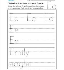 printing practice - upper and lower case Ee - handwriting practice for kindergarten