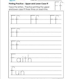 printing practice - upper and lower case Ff - handwriting practice for kindergarten