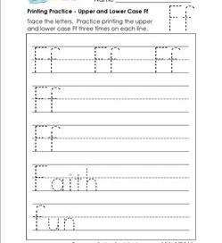 printing practice - upper and lower case Ff - handwriting practice for kindergarten