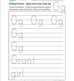 printing practice - upper case and lower case Gg - handwriting practice for kindergarten