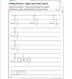 printing practice - upper and lower case Jj - handwriting practice for kindergarten