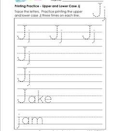 printing practice - upper and lower case Jj - handwriting practice for kindergarten