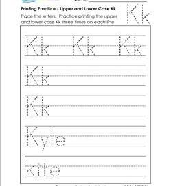 printing practice - upper and lower case Kk - handwriting practice for kindergarten