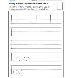 printing practice - upper and lower case Ll - handwriting practice for kindergarten