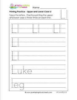 printing practice - upper and lower case Ll - handwriting practice for kindergarten