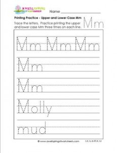 printing practice - upper and lower case Mm - handwriting practice for kindergarten