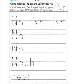 printing practice - upper and lower case Nn - handwriting practice for kindergarten