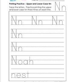 printing practice - upper and lower case Nn - handwriting practice for kindergarten