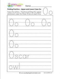 printing practice - upper and lower case Oo - handwriting practice for kindergarten