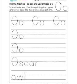 printing practice - upper and lower case Oo - handwriting practice for kindergarten
