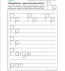 printing practice - upper and lower case Pp - handwriting practice for kindergarten