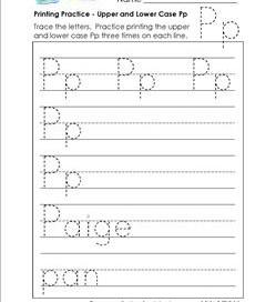 printing practice - upper and lower case Pp - handwriting practice for kindergarten