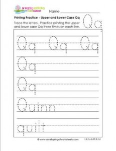 printing practice - upper and lower case Qq - handwriting practice for kindergarten