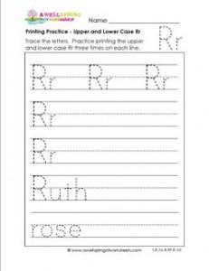 printing practice - upper and lower case Rr - handwriting practice for kindergarten