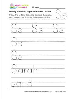 printing practice - upper and lower case Ss - handwriting practice for kindergarten
