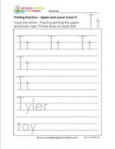 printing practice - upper and lower case Tt - handwriting practice for kindergarten