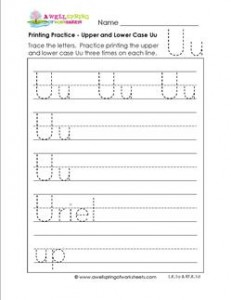 printing practice - upper and lower case Uu - handwriting practice for kindergarten